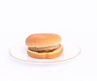 Pork Burger. Pork burger fast food on plate Stock Images
