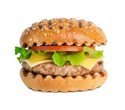 Pork burger isolated on white background. Grilled burger with salad on white background Stock Photography