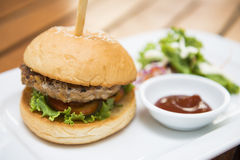 Pork burger with vegetable for lunch Stock Photography