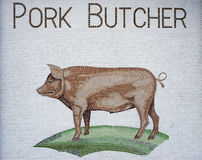 Pork butcher mosaic sign Royalty Free Stock Image