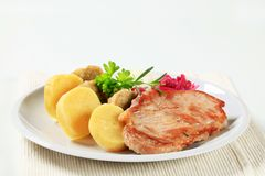 Pork with cabbage and dumplings Stock Image