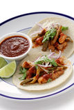 Pork and cactus tacos Royalty Free Stock Photography
