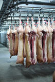 Pork carcasses on hooks Royalty Free Stock Images