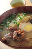 Pork cartilage noodle. Soup pork cartilage noodle w/Egg Stock Images