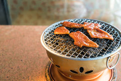 Pork on charcoal grill Royalty Free Stock Photos