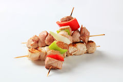 Pork and chicken skewers Stock Photography