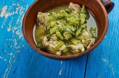 Pork Chili Verde. Southwestern-style chili , Pork slowly stews with jalapenos, onion, green enchilada sauce Royalty Free Stock Image