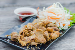 Pork chitterlings fried Stock Photos