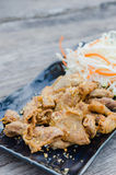 Pork chitterlings fried Stock Photo