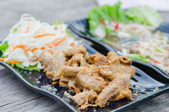 Pork chitterlings fried Royalty Free Stock Photos