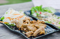 Pork chitterlings fried royalty free stock images