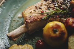 Pork chop with apples food photography recipe idea royalty free stock images