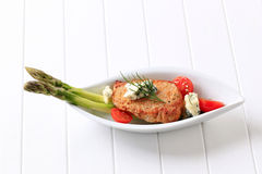 Pork chop with blue cheese and vegetables Royalty Free Stock Photos