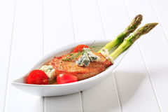 Pork chop with blue cheese and vegetables Royalty Free Stock Photography
