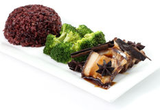 Pork Chop with brown rice Royalty Free Stock Images