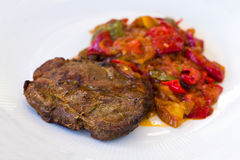 Pork Chop,casserole With Grilled Red Bell Pepper , Royalty Free Stock Photography