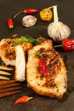 Pork chop for frying. Fresh meat on grill. Diet food. Kitchen utensils. Pork chop for frying. Fresh meat on grill. Diet food.  Kitchen utensils Royalty Free Stock Photo