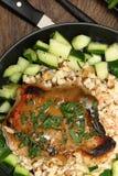 Pork Chop and Honey-Mustard Pan Sauce Royalty Free Stock Images