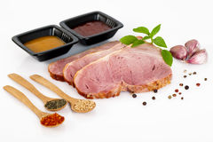 Pork chop isolated on white background. Raw meat Stock Photos