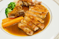 Pork chop kurobuta steak Japanese style Royalty Free Stock Photos