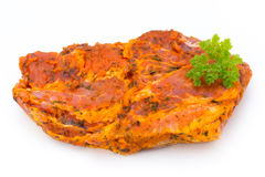 Pork chop, marinated. Isolated on the white background. Royalty Free Stock Photos