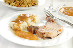 Pork chop and mashed potatoes Royalty Free Stock Images
