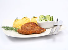 Pork chop, mashed potatoes and cucumber salad Royalty Free Stock Images