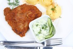 Pork chop, mashed potatoes and cucumber salad Royalty Free Stock Image