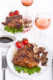 Pork chop with mushrooms Stock Photo