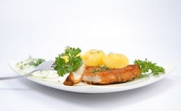Pork chop with potatoes Royalty Free Stock Image