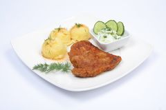 Pork chop, potatoes and cucumber salad Royalty Free Stock Images