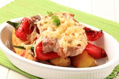 Pork chop with potatoes and red pepper Royalty Free Stock Image