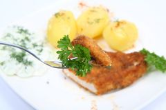 Pork chop, potatoes-some on a fork Stock Photo
