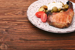 Pork Chop with potatoes and vegetable Royalty Free Stock Photo