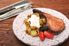 Pork Chop with potatoes and vegetable Royalty Free Stock Images