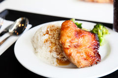 Pork chop with rice. The Seaview restaurant inside cuisine Stock Photos