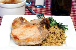 Pork Chop and Rice Royalty Free Stock Photos