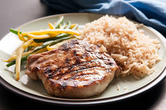 pork chop and rtice Stock Image