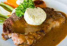 Pork chop with sauce Royalty Free Stock Images
