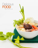 Pork chop soup with mixed vegetables. Royalty Free Stock Image