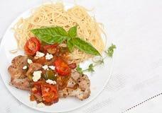 Pork chop with Spaghetti Stock Photo