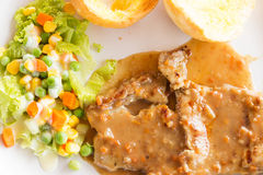 Pork chop steak with salad. Stock Images