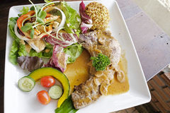 Pork chop steak with salad Royalty Free Stock Photos