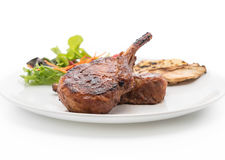 Pork chop steak. On white background royalty free stock images