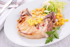 Pork chop and vegetable Royalty Free Stock Photography