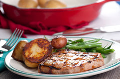 Pork chop wityh peach sauce Royalty Free Stock Photos