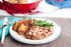 pork chop wityh peach sauce Royalty Free Stock Photography