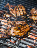 Pork chops on the barbecue grill Stock Image