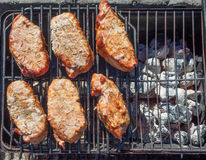 Pork chops on charcoal barbeque Stock Photos