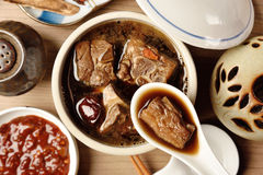 Pork chops in Chinese medicine soup. Royalty Free Stock Photo